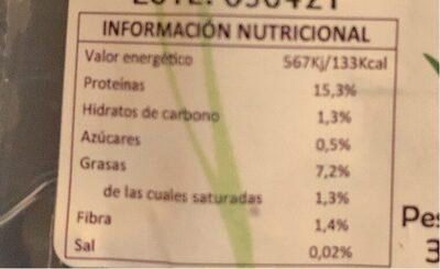 Bio tofu finas hierbas - Informations nutritionnelles - es