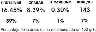 """Tofu ecológico """"Integral Artesans"""" con algas - Información nutricional - es"""