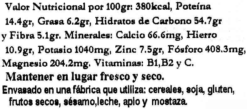 Quinoa - Informació nutricional - es
