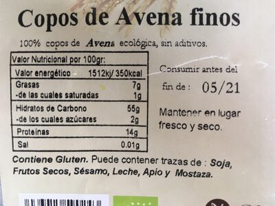 Copos de avena finos - Ingredients