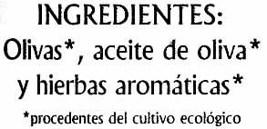 Paté vegetal de aceitunas ecológico - Ingredients - es