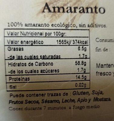 Amaranto - Informations nutritionnelles - es