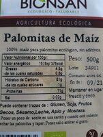 Maiz para Palomitas - Informations nutritionnelles - es