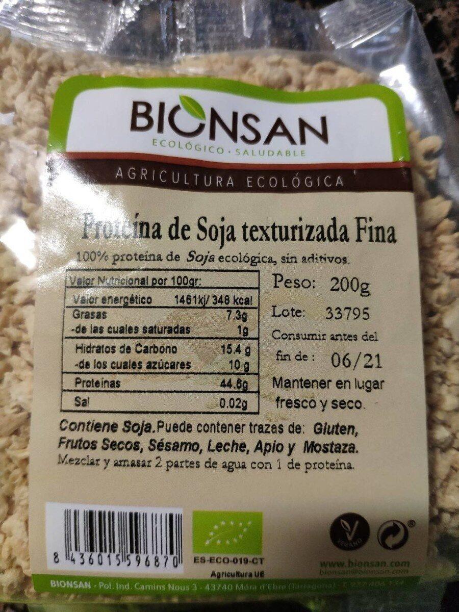 Proteína de soja texturizada fina - Información nutricional - es