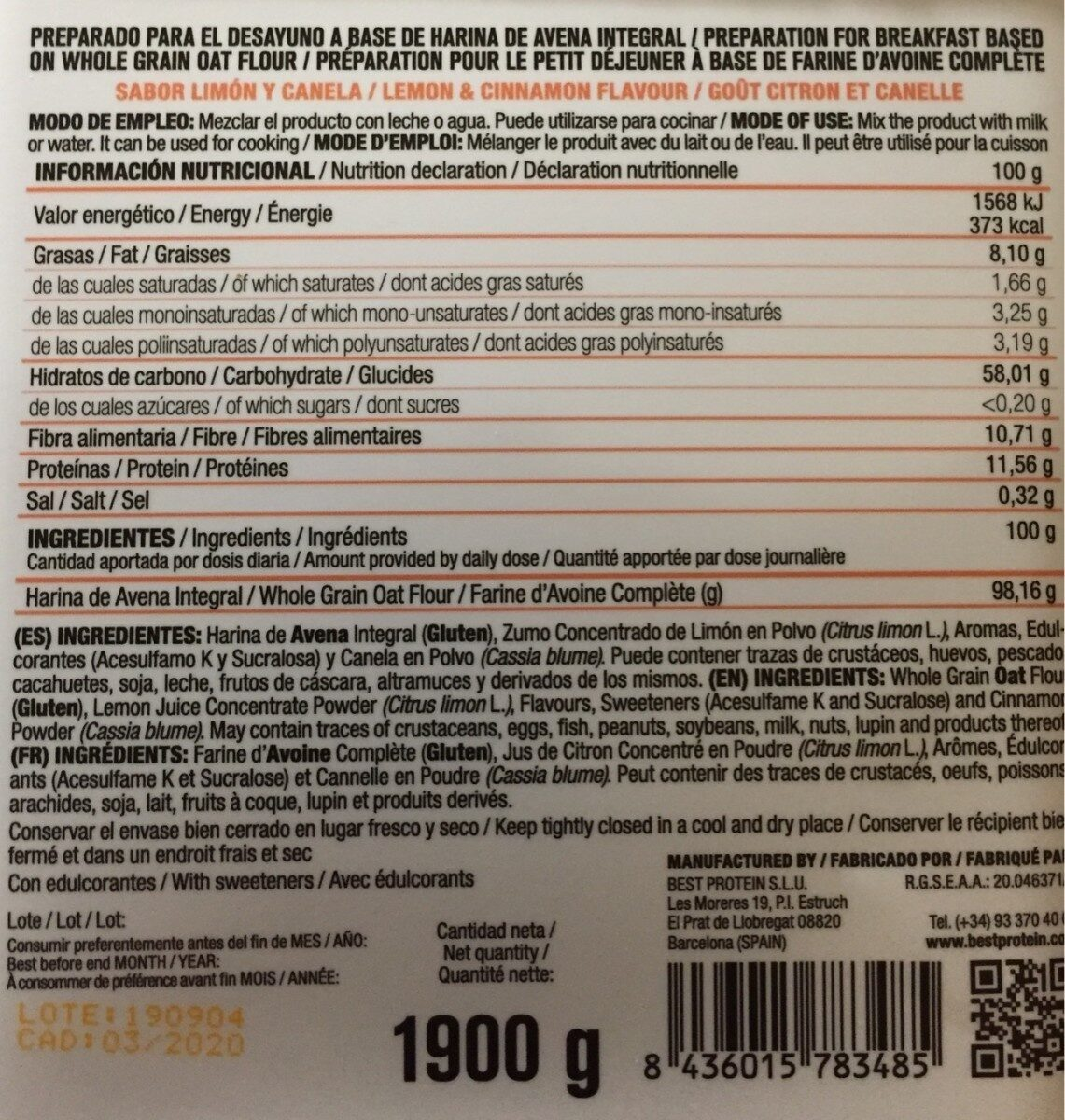Harina de avena integral - Nutrition facts