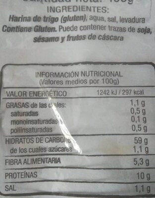 Panecillo - Nutrition facts