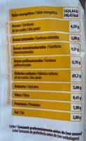 Masa de obleas - Voedingswaarden - es