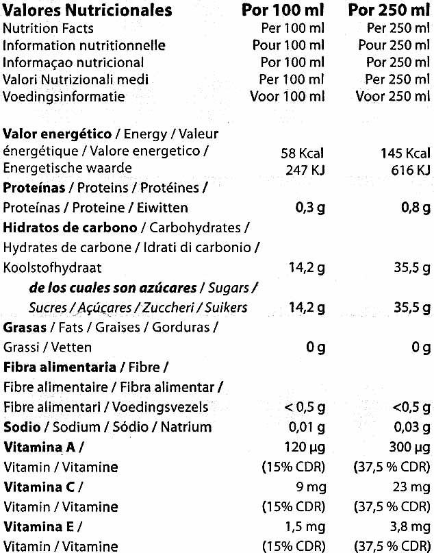 """Bebida de zumo y soja """"Frías"""" Mediterráneo - Informació nutricional"""