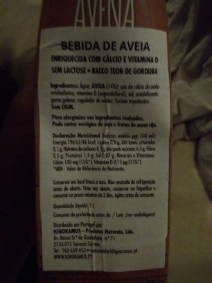 Bebidade Avena - Ingredients