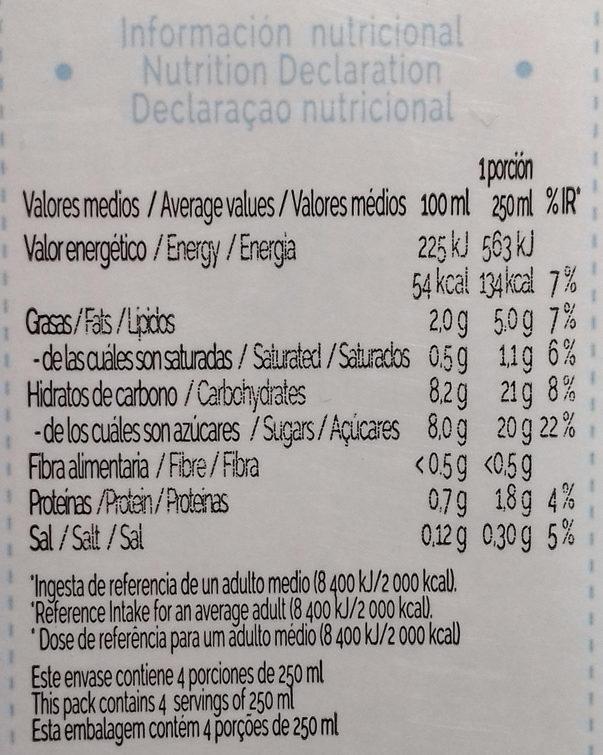 Bebida De Almendras Uht - Nutrition facts