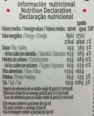 Bebida de almendras Zero sin azúcares añadidos - Información nutricional