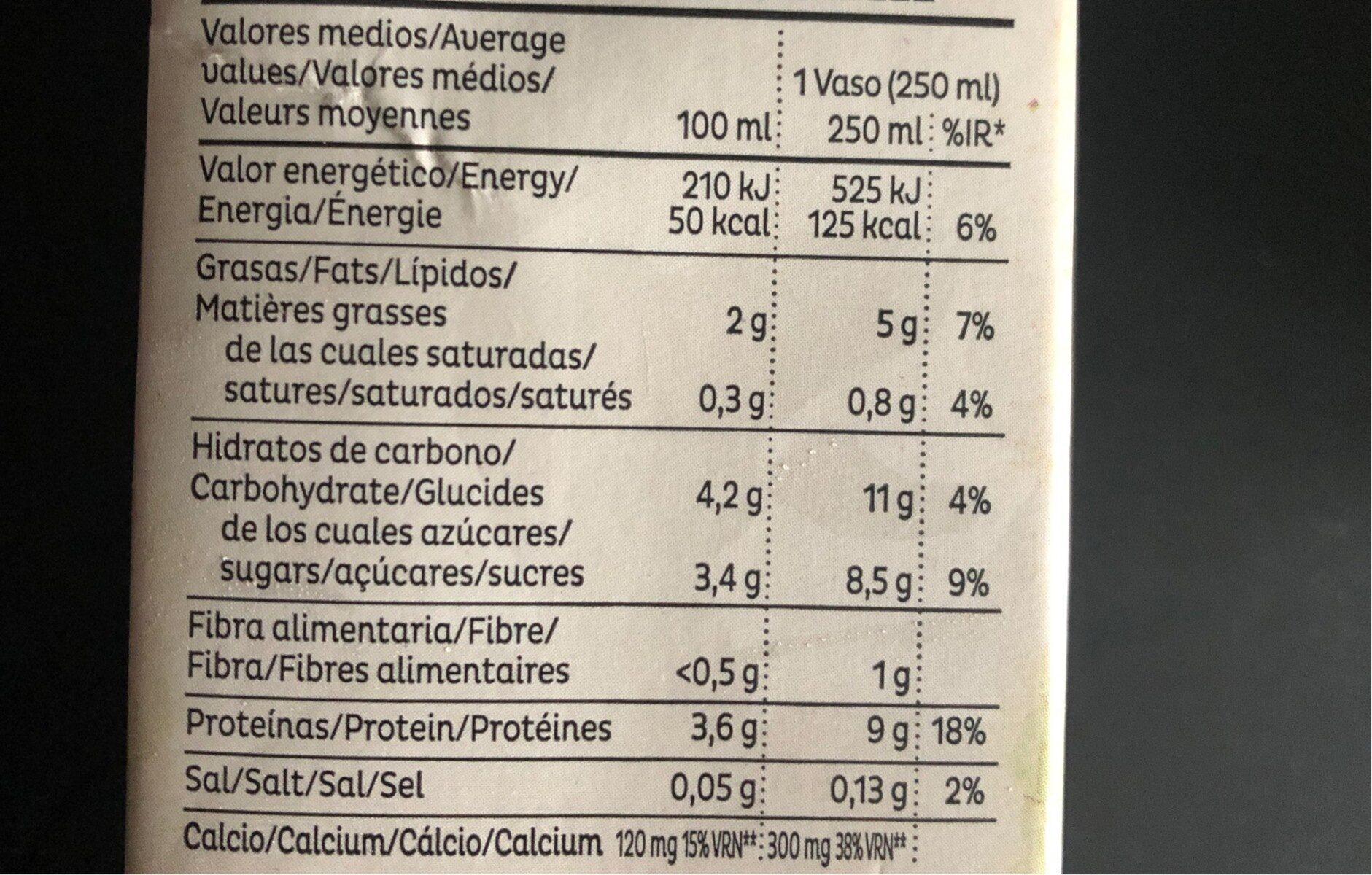 Bebida de soja con calcio FRIAS - Información nutricional - es