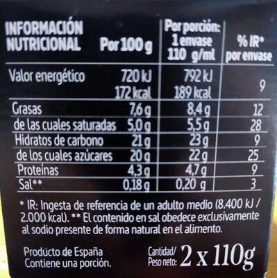 Flan de café La Ermita - Información nutricional