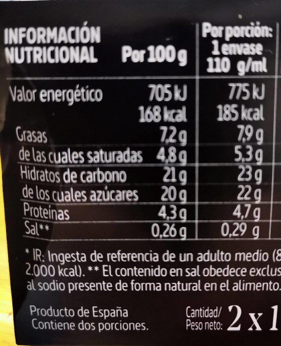 Flan de Queso La Ermita - Información nutricional