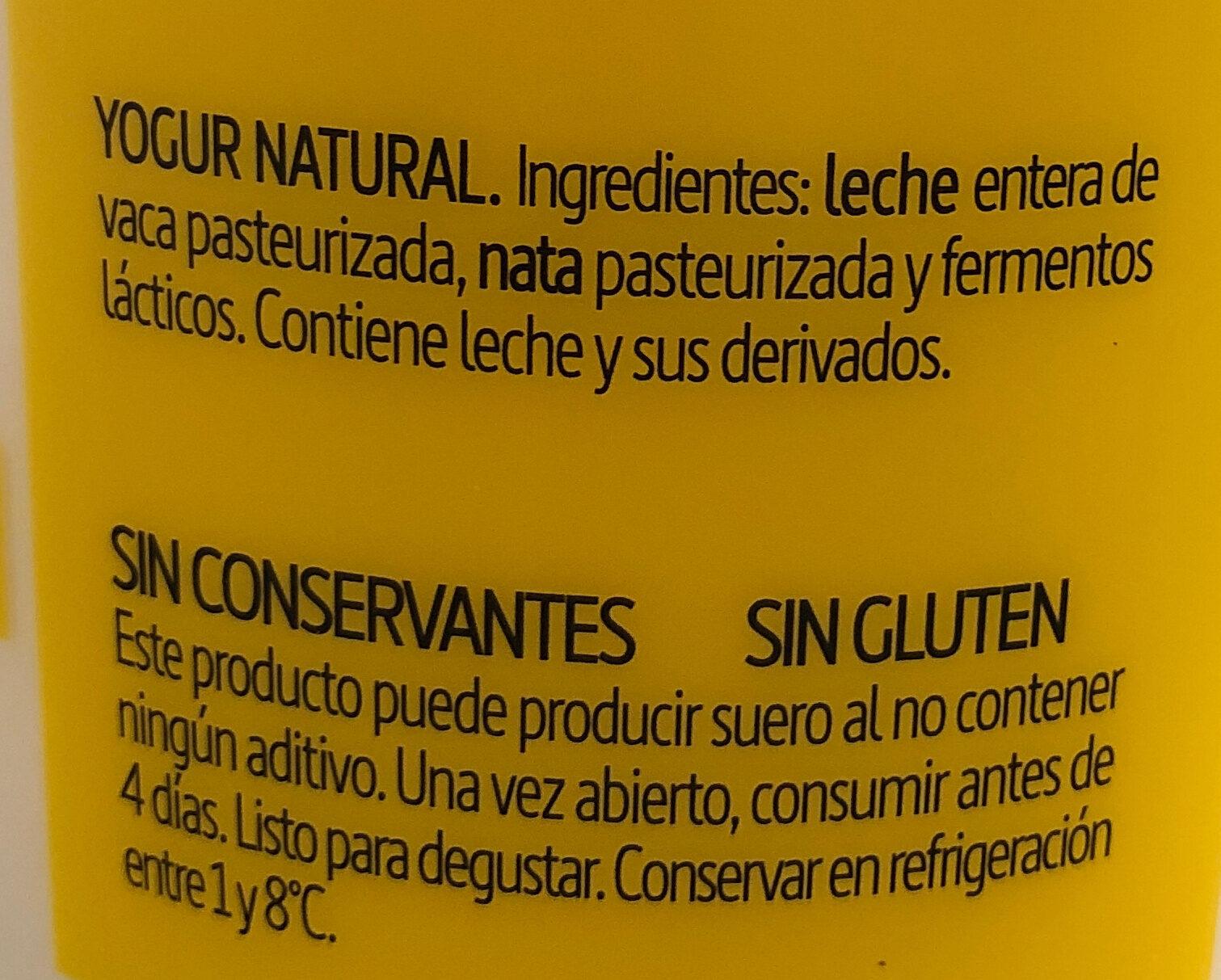 Yogur natural sin gluten - Ingredientes