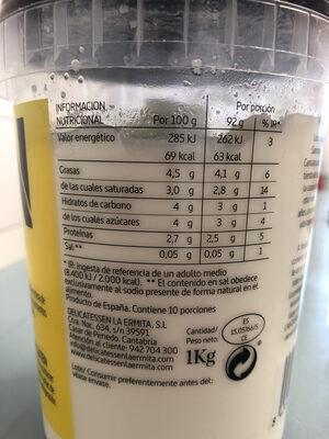 Yogur natural sin gluten - Información nutricional