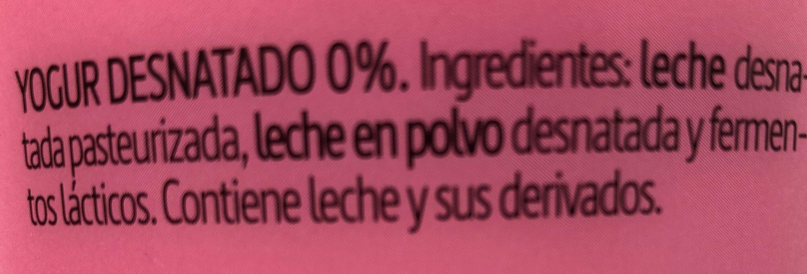 Yogur natural desnatado m.g. sin gluten - Ingredientes