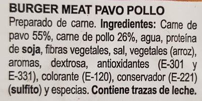 Burger meat pavo pollo - Ingredients