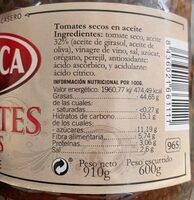 Tomates Secos en Aceite - Informació nutricional