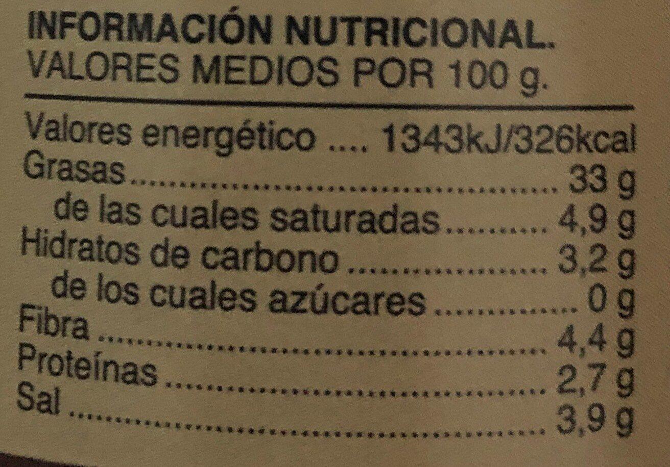 Olivada - Salsas con autentico sabor casero - Información nutricional