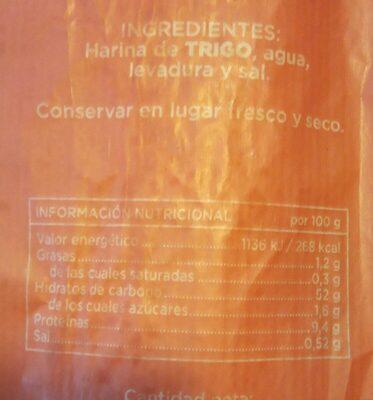 Baguette - Informations nutritionnelles