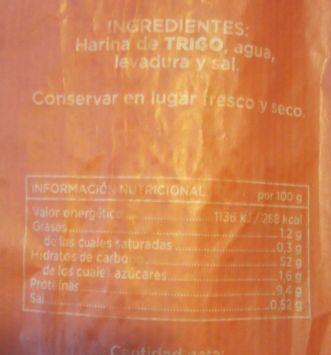 Baguette - Informations nutritionnelles - es