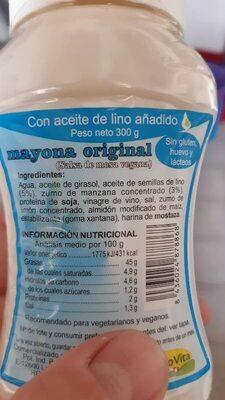 Mayola original mayonesa con aceite de lino sin huevo - Ingredients