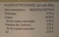 Aceitunas manzanilla sabor anchoa - Nutrition facts - es