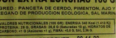 Bacon extra lonchas - Informació nutricional - es