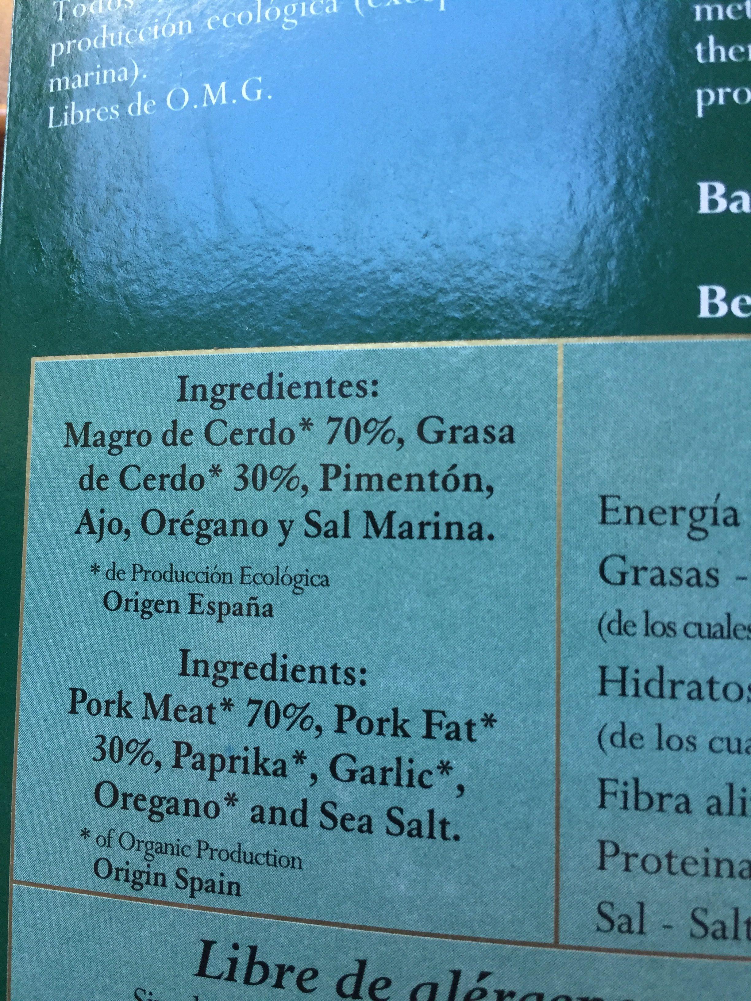 Chorizo Orgánico - Ingredients