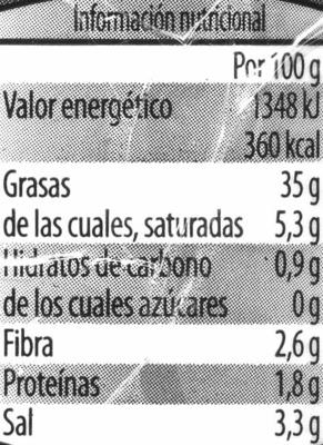 Olivada - Información nutricional