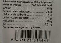 Semilla de chia - Nutrition facts - es