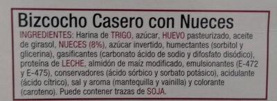 Bizcocho casero con nueces - Ingredientes - es
