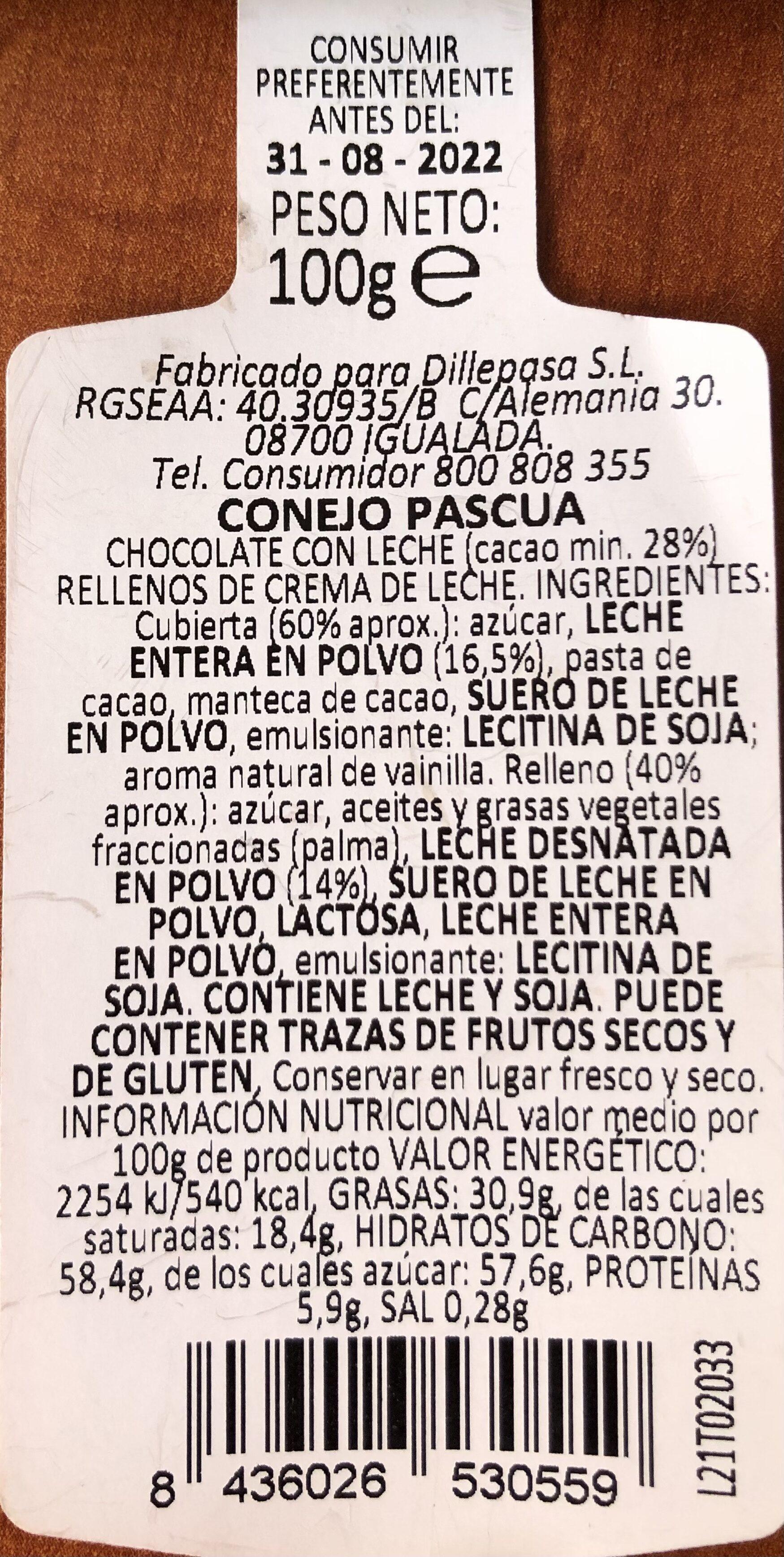 Conejo Pascua - Ingredienti - es