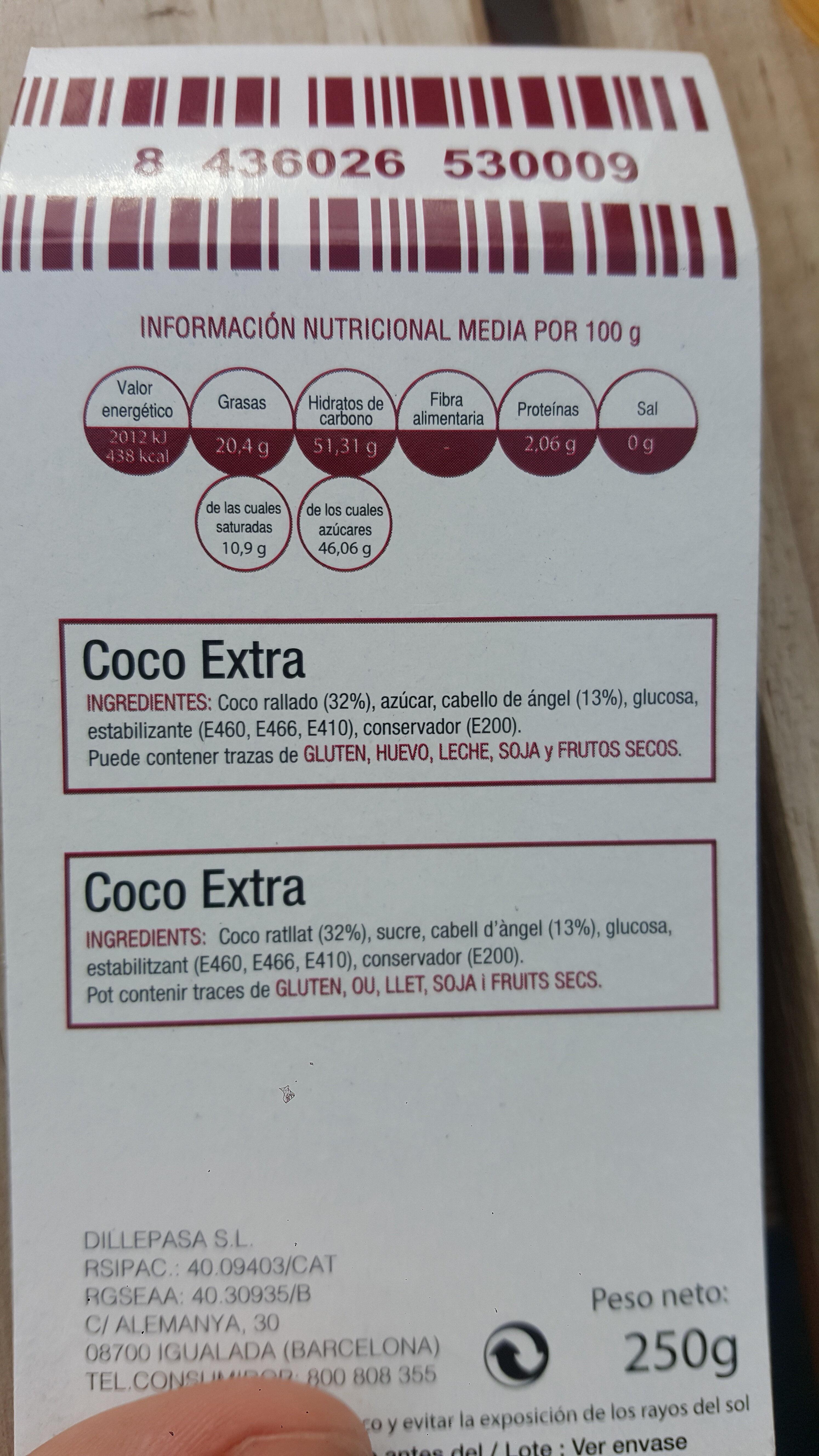 Coco extra - Ingrédients - es