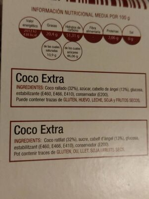 Coco extra - Informations nutritionnelles - es