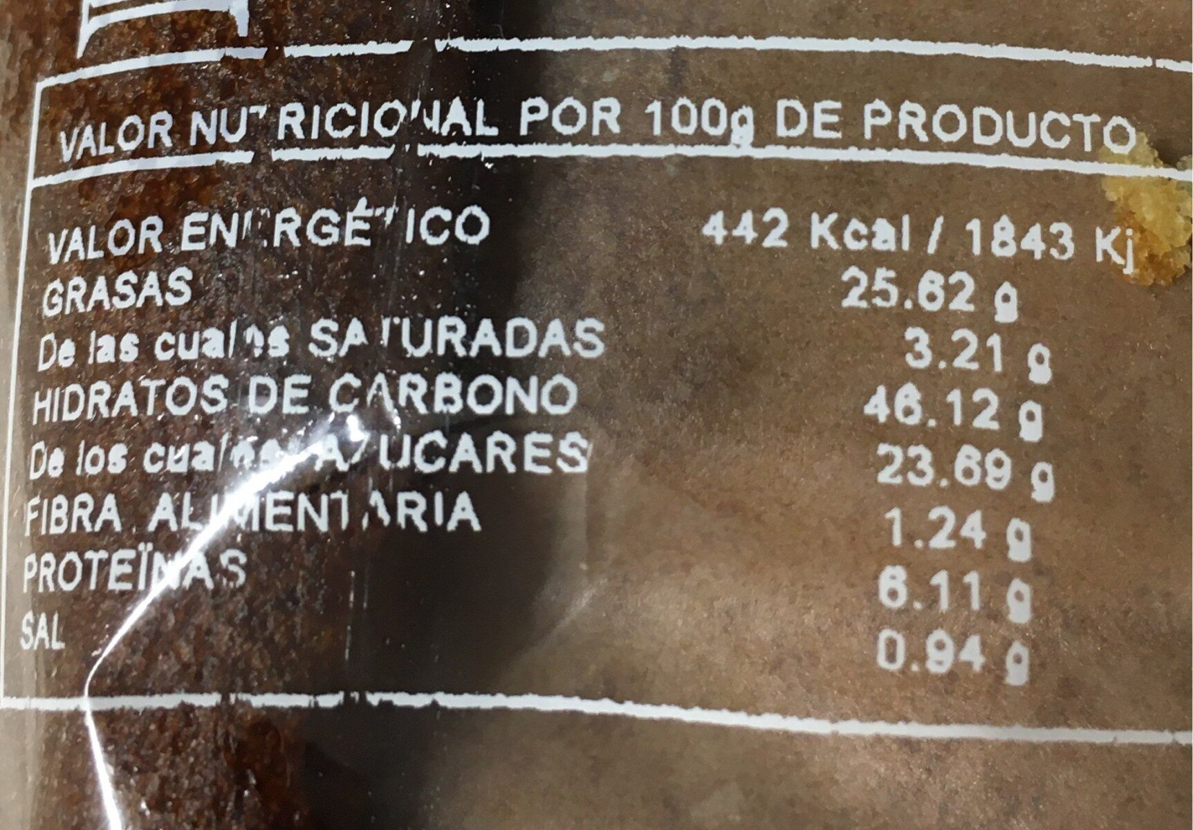 Bizcocho casero - Informació nutricional - es