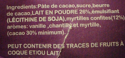 chocolat au lait avec myrtilles - Ingredients - fr