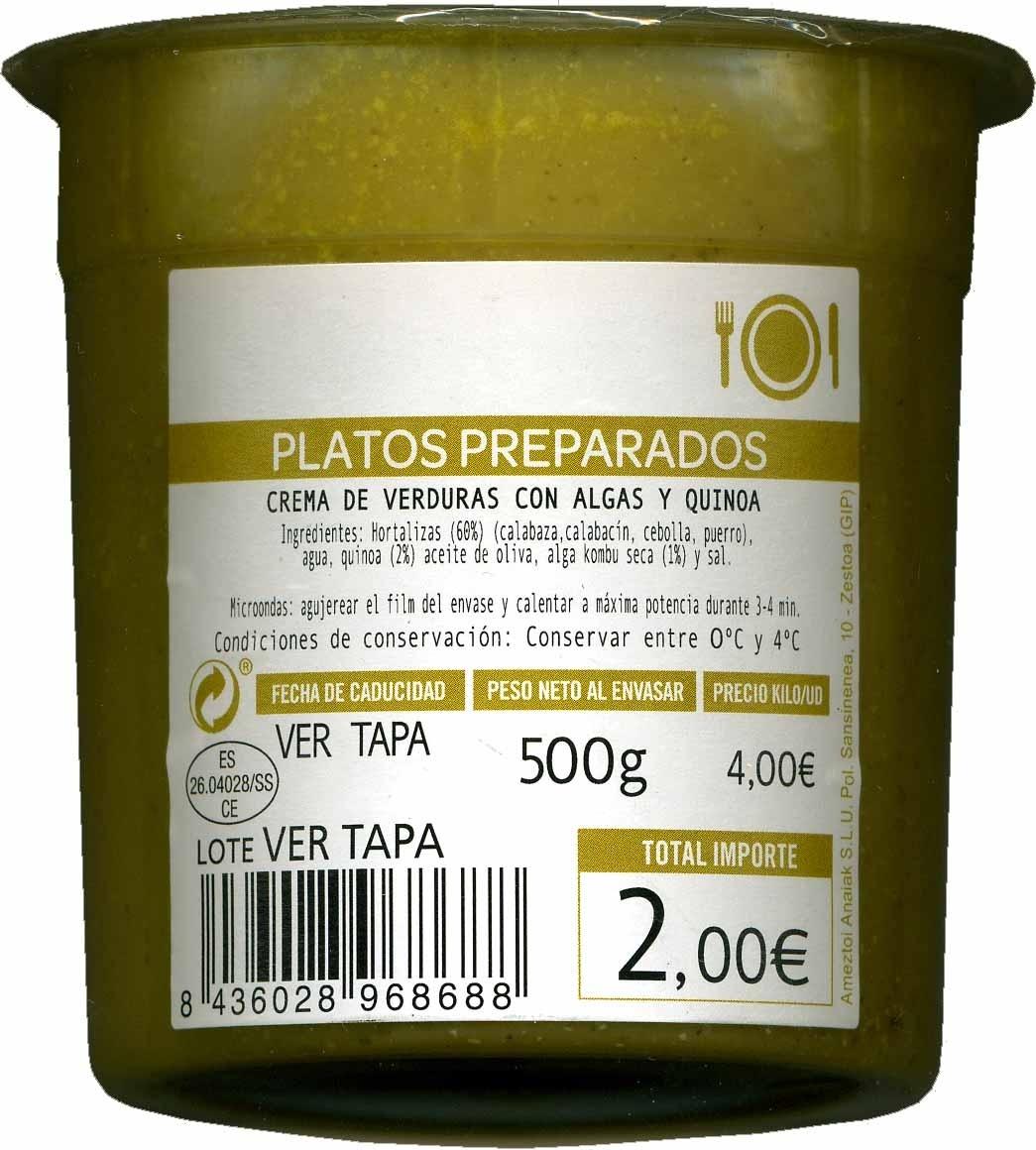 Crema de verduras con algas y quinoa - Producto