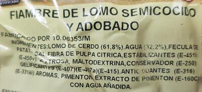 Fiambre de lomo semicocido y adobado - Ingredients - es