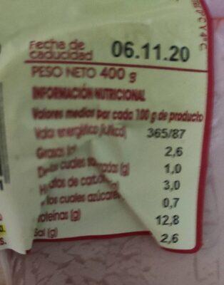 Fiambre de lomo semicocido y adobado - Informació nutricional - es