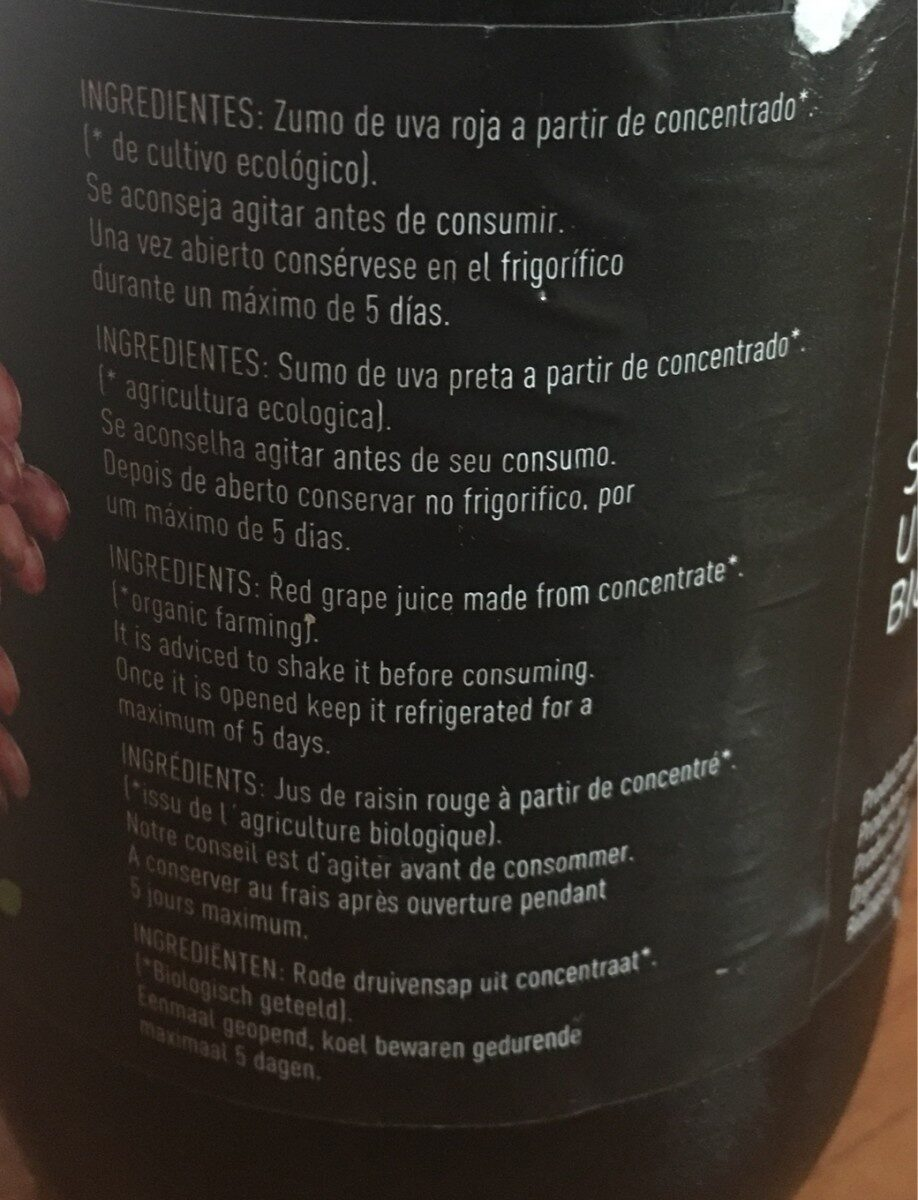 Zumo de uva roja ecologico - Ingredienti - fr