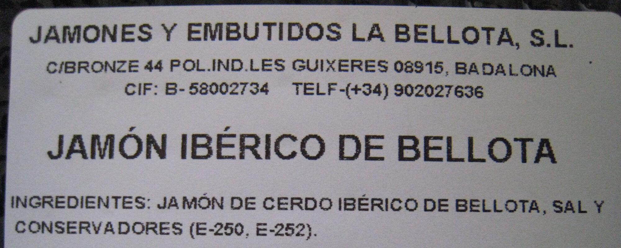 Jamón Ibérico 100 g de Bellota - Ingredientes