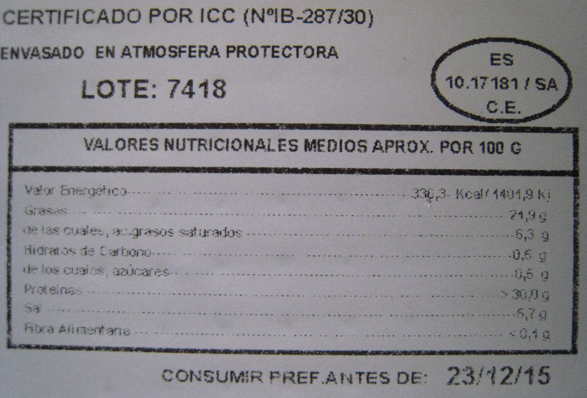 Jamón Ibérico 100 g de Bellota - Informations nutritionnelles - es