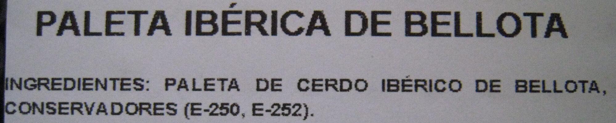 Paleta Ibérica 100 g de Bellota - Ingredients - es