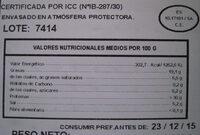Paleta Ibérica 100 g de Bellota - Informació nutricional - es