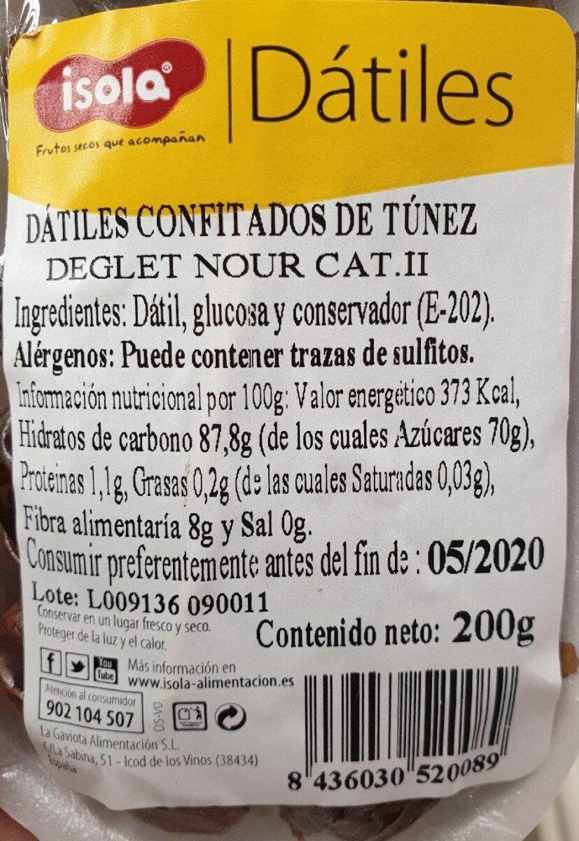 Dátiles - Información nutricional - es