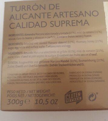 Turrón de Alicante ARTESANO - Informació nutricional