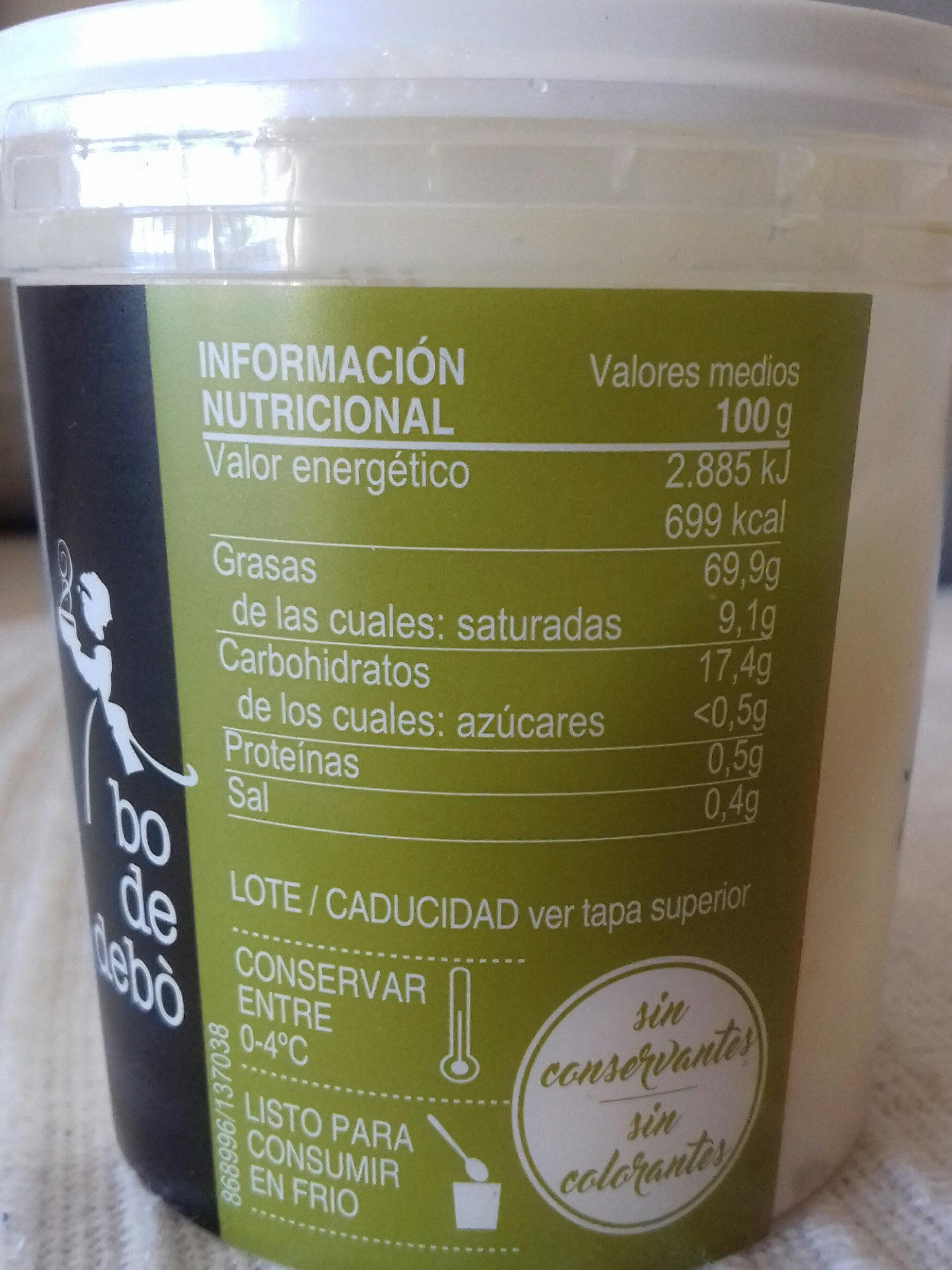 salsa alioli - Información nutricional