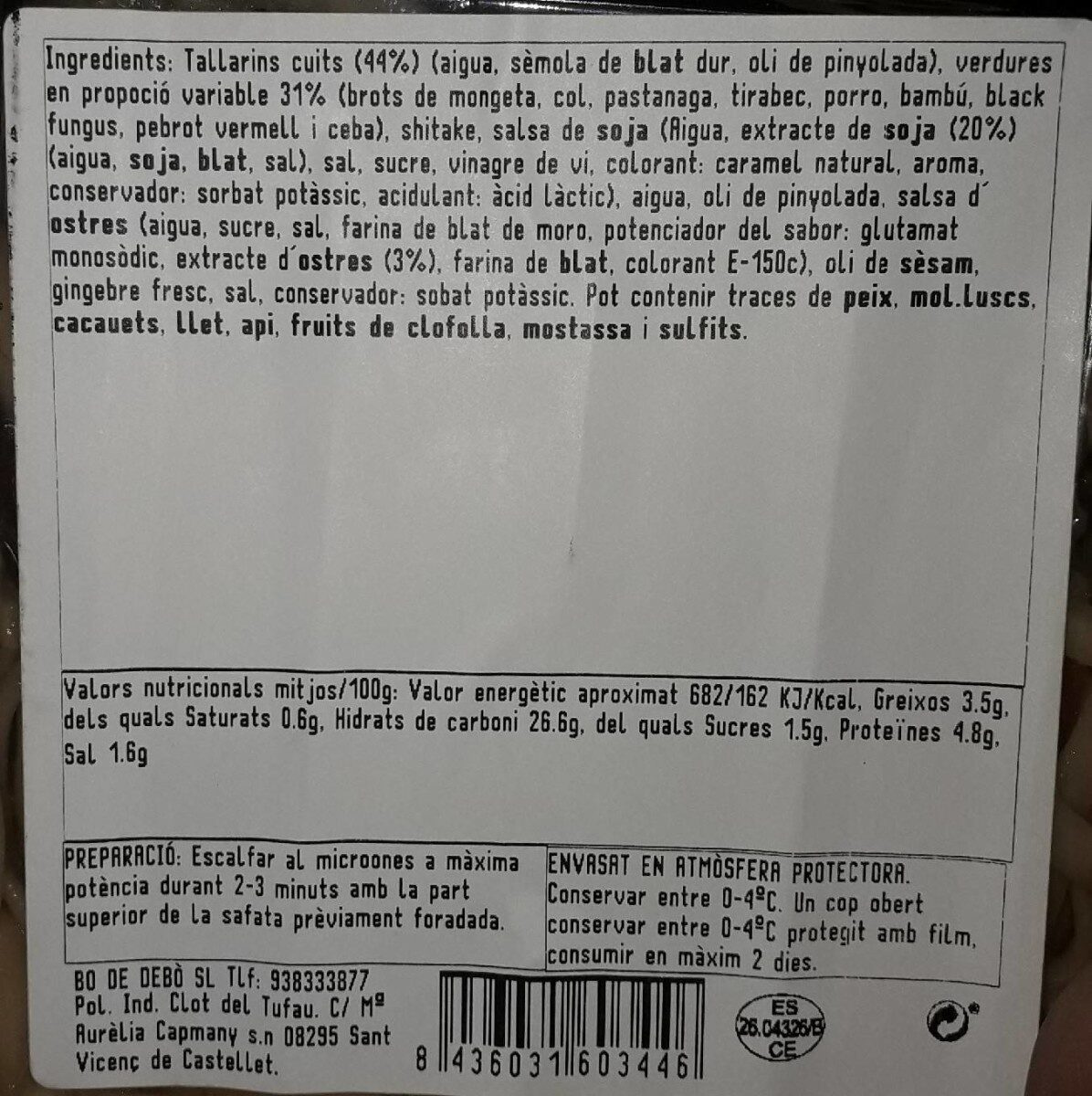 Tallarines con verduras - Nutrition facts